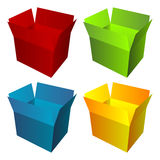 Colored cardboard boxes Royalty Free Stock Image