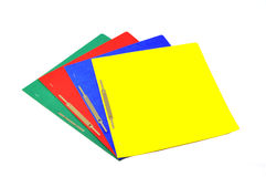 Colored cards. Markers from four different colors on white background royalty free stock photography
