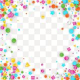 Colored carnaval confetti background. Made of star, square, triangle, circle geometric shapes. 3d vector illustration for birthday design stock illustration