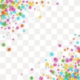 Colored carnaval confetti background. Made of star, square, triangle, circle geometric shapes. 3d vector illustration for celebrate design royalty free illustration