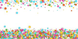 Colored Carnaval Confetti Background with Geometric Shapes. Colored Carnaval Confetti Explosion Background with Stars, Squares, Triangles, Circles. Abstract royalty free illustration