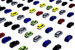 Colored cars in miniature Stock Photo