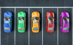Colored cars are in the parking lot or getting ready for race.  Royalty Free Stock Photo