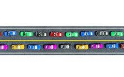 Colored cars are in traffic, top view Royalty Free Stock Photo