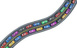 Colored cars are in traffic, top view Stock Photos