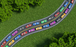 Colored cars are in traffic, top view Stock Images