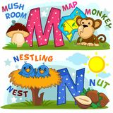 English alphabet M N. Colored cartoon English alphabet with letters M and N for children, with pictures to these letters with a mushroom, card, monkey, nest royalty free illustration