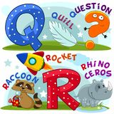 English alphabet Q R. Colored cartoon English alphabet with letters Q and R for children, with pictures to these letters with a pen, question mark, raccoon Stock Image