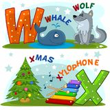 English alphabet W X. Colored cartoon English alphabet with letters W and X for children, with pictures to these letters with a whale, a wolf, a Christmas and a Royalty Free Illustration