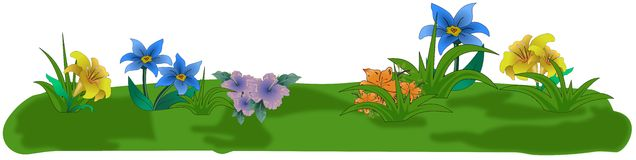 Colored Cartoon Flowers On Small Grass Isle Royalty Free Stock Images