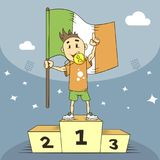 Cartoon illustration champion of Ireland in the first place with flag in hand vector illustration