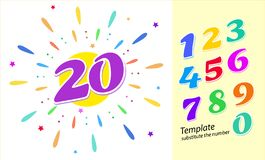 Colored cartoon numbers. Vector set of 1-9 digit. Template layout for greetings, the number 20 in color fireworks. Vector illustration royalty free illustration