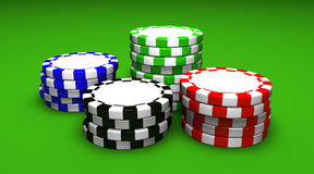 Colored Casino Chips. With a blank central space for your logo Royalty Free Stock Image