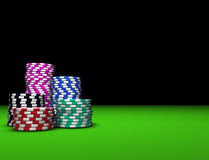 Colored Casino Chips. On green table. Great background for magazines, banners, webpages, flyers, etc Stock Images