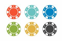 Colorful casino chips on white background. top view Stock Images