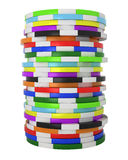 Colored Casino or roulette chips stack isolated Royalty Free Stock Image