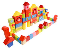 Colored castle made from wooden blocks Stock Photos