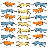 Colored cats action Royalty Free Stock Images