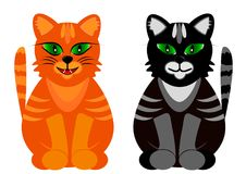 Colored cats with green eyes. Vector illustration Stock Image