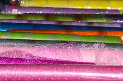 Colored cellophane and mesh for packing flowers Stock Photos
