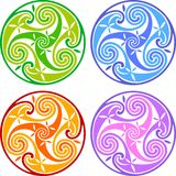 Colored celtic triskels Stock Photo