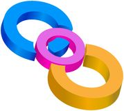 Colored centrical circles joined together. Three colored centrical circles joined together Stock Images
