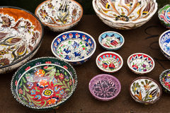 Colored ceramic bowls Stock Photos