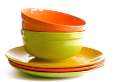Colored Ceramic Tableware Isolated On White Background Royalty Free Stock Photo