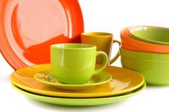 Colored ceramic tableware isolated on white background Royalty Free Stock Photography