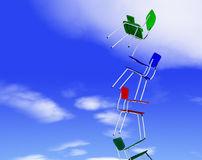 Colored chairs. Balanced against the blue sky stock illustration