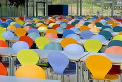 Colored chairs.