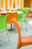 Colored chairs in the cafe Royalty Free Stock Images