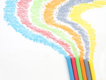 Colored chalk. Painting on white background Royalty Free Stock Images