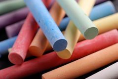 Colored chalk stock photography