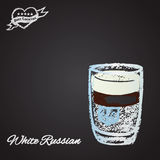 Colored chalk cocktails: White Russian. Royalty Free Stock Images