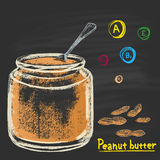 Colored chalk drawn illustration of bank with peanut (groundnut) butter. Stock Photo