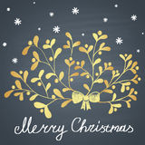 Colored chalk drawn illustration with branch of mistletoe, snowflakes and ''Merry Christmas'' text. Stock Photo