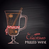 Colored chalk drawn illustration of Christmas mulled wine. Stock Photography