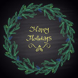 Colored chalk drawn illustration with Christmas tree wreath, cones and text. Royalty Free Stock Photos