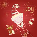 Colored chalk drawn illustration with elf in traditional costume with a gift,  and salutes on red chalkboard. Royalty Free Stock Photography