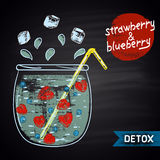 Colored chalk drawn illustration of jar with infused water. Strawberry and blueberry flavor. Detox and fitness theme.  Stock Image