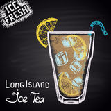 Colored chalk drawn illustration of long island ice tea. Alcohol cocktails theme. Stock Photography