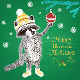 Colored chalk drawn illustration with raccoon in a hat, ''Happy Winter Holidays'' Royalty Free Stock Image