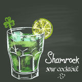 Colored chalk drawn illustration with shamrock sour cocktail with lime and ice for St. Patrick's Day. Holidays theme. Cocktail collection Royalty Free Stock Photo