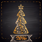 Colored chalk drawn illustration with yellow Christmas tree, dotted frame, ribbon and text '2016'. Stock Photo