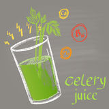 Colored chalk painted illustration of celery  juice. Infographic. Fitness theme Royalty Free Stock Photos