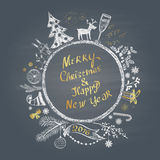 Colored chalk painted illustration with Christmas ball,  ''Merry Christmas & Happy New Year'' text  and set of different elements. Colored chalk painted Royalty Free Stock Photography