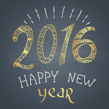 Colored chalk painted illustration with 2016,  ''happy new year'' text  and ornaments with golden elements. Happy New 2016 Year Theme. Card design Royalty Free Stock Photography