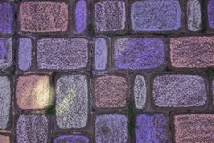 Colored chalk on pavement Royalty Free Stock Images