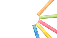 Colored chalk on white background with clipping path Stock Image